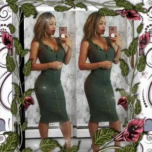 Sleeveless Ribbed Midi Tank Dress - Olive